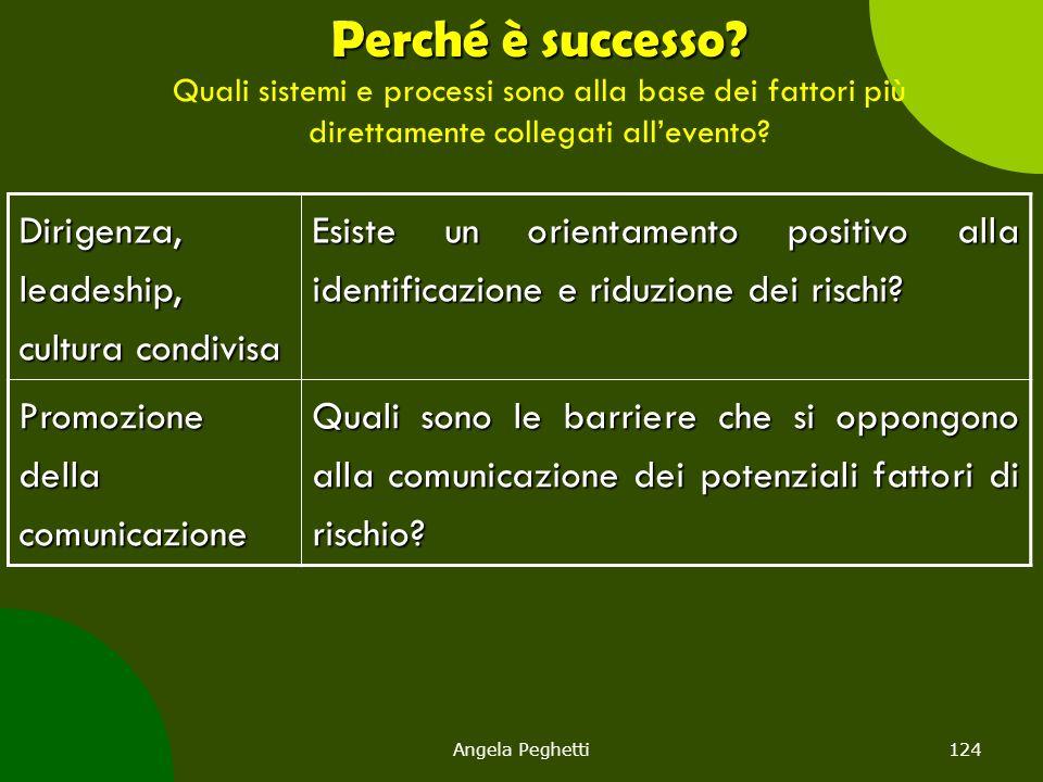 Angela Peghetti124 Perché è successo? Perché è successo? Quali sistemi e processi sono alla base dei fattori più direttamente collegati all'evento? Di