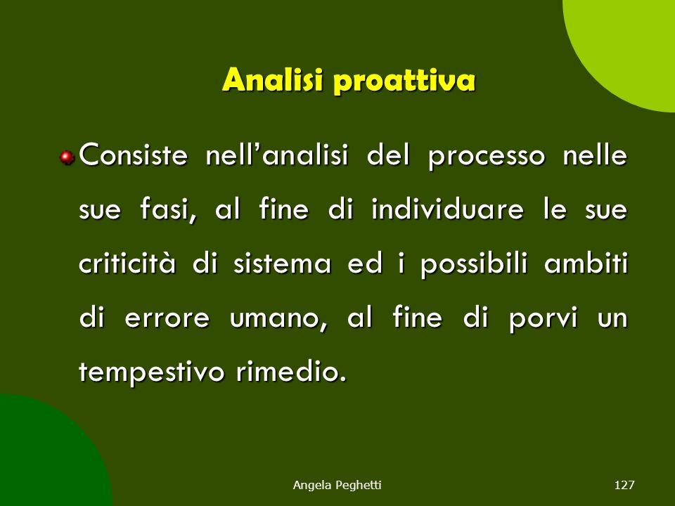 Angela Peghetti127 Analisi proattiva Consiste nell'analisi del processo nelle sue fasi, al fine di individuare le sue criticità di sistema ed i possib