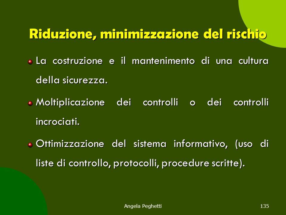 Angela Peghetti135 Riduzione, minimizzazione del rischio La costruzione e il mantenimento di una cultura della sicurezza. Moltiplicazione dei controll