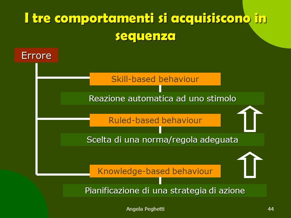 Angela Peghetti44 I tre comportamenti si acquisiscono in sequenza Errore Pianificazione di una strategia di azione Knowledge-based behaviour Reazione