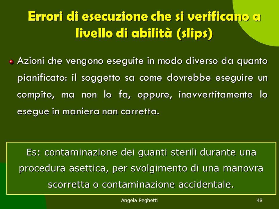 Angela Peghetti48 Errori di esecuzione che si verificano a livello di abilità (slips) Azioni che vengono eseguite in modo diverso da quanto pianificat