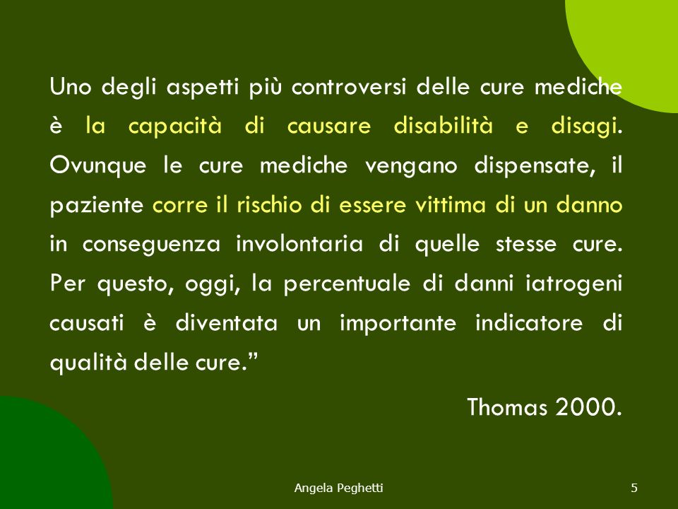 Angela Peghetti46 Errore Errore (Reason, 1990) è il fallimento del raggiungimento di un obiettivo desiderato, per difetto di progettazione o di esecuzione, che non può essere attribuito al caso, e perciò è potenzialmente prevenibile.