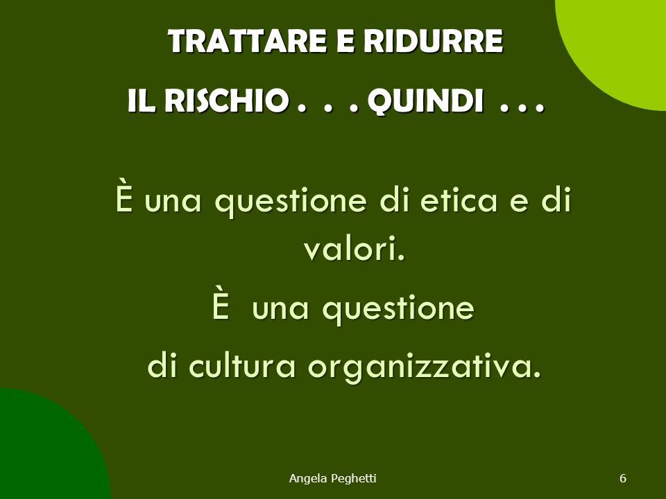 TRATTARE E RIDURRE IL RISCHIO... QUINDI... È una questione di etica e di valori. È una questione di cultura organizzativa. Angela Peghetti6