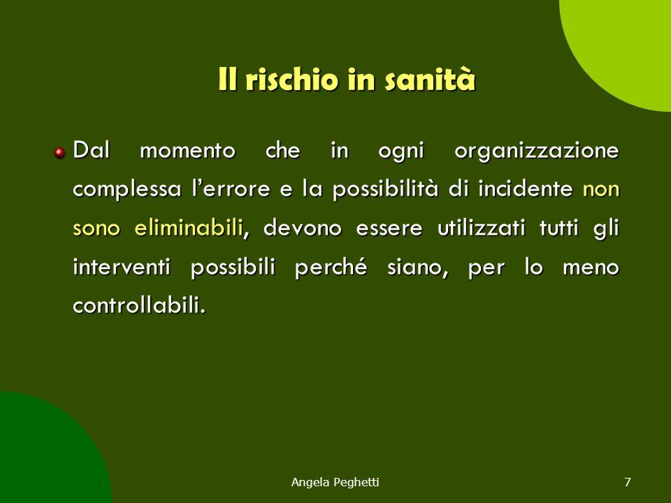 Angela Peghetti8 Il rischio in sanità L'errore umano è inevitabile.