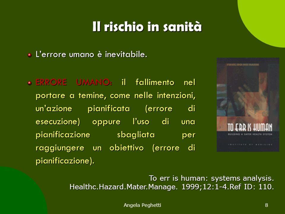 Angela Peghetti8 Il rischio in sanità L'errore umano è inevitabile. ERRORE UMANO: il fallimento nel portare a temine, come nelle intenzioni, un'azione