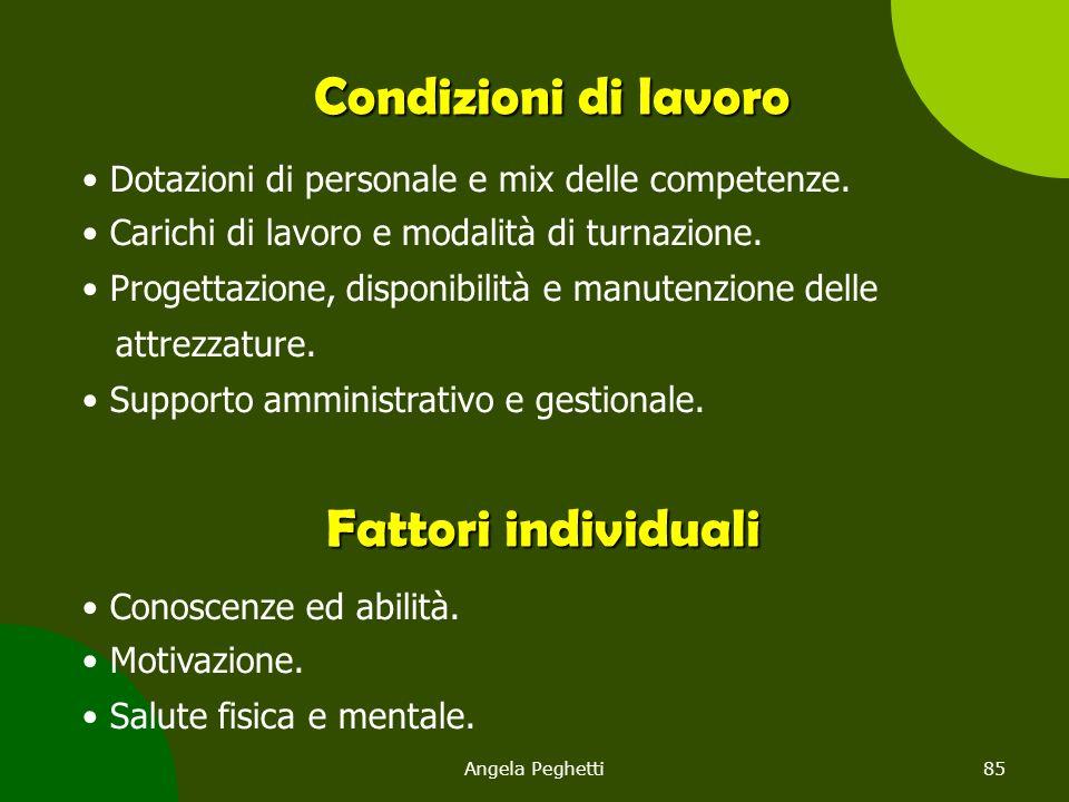 Angela Peghetti85 Condizioni di lavoro Dotazioni di personale e mix delle competenze. Carichi di lavoro e modalità di turnazione. Progettazione, dispo