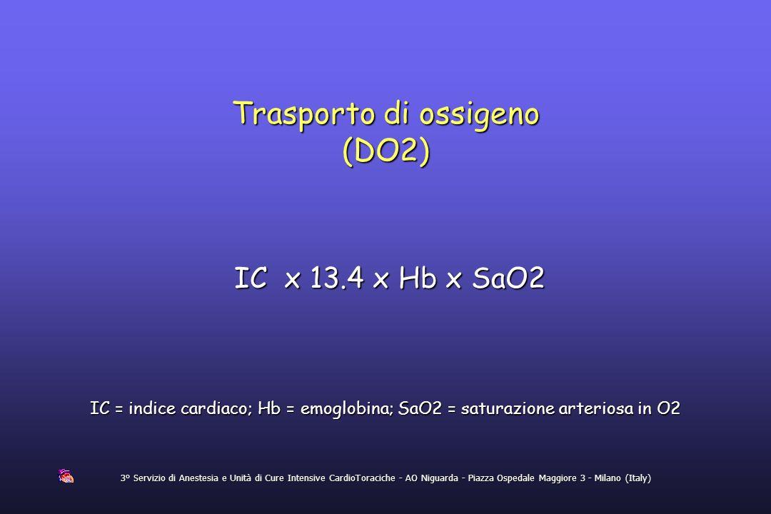 3° Servizio di Anestesia e Unità di Cure Intensive CardioToraciche - AO Niguarda - Piazza Ospedale Maggiore 3 - Milano (Italy) Trasporto di ossigeno (