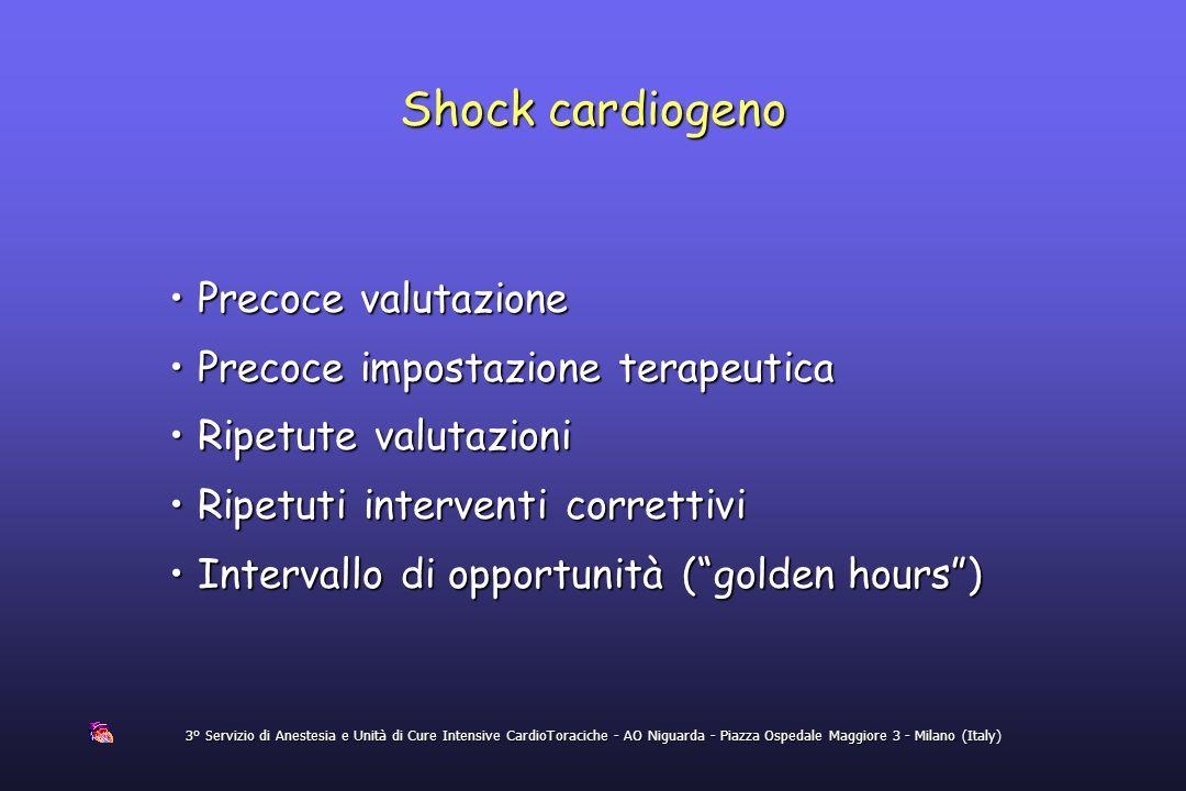 Shock cardiogeno 3° Servizio di Anestesia e Unità di Cure Intensive CardioToraciche - AO Niguarda - Piazza Ospedale Maggiore 3 - Milano (Italy) Precoc