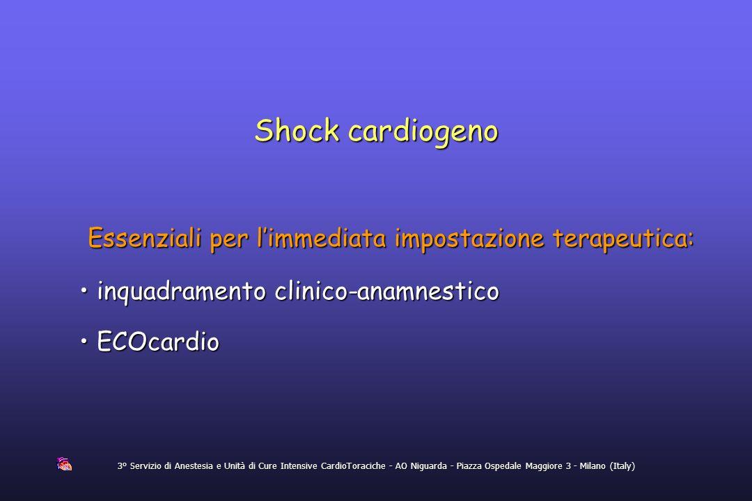 3° Servizio di Anestesia e Unità di Cure Intensive CardioToraciche - AO Niguarda - Piazza Ospedale Maggiore 3 - Milano (Italy) Shock cardiogeno Essenz