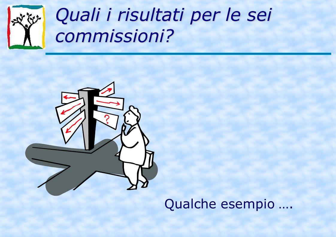 Quali i risultati per le sei commissioni Qualche esempio ….
