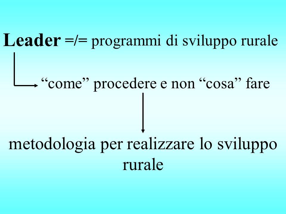 Leader metodologia per realizzare lo sviluppo rurale =/= programmi di sviluppo rurale come procedere e non cosa fare