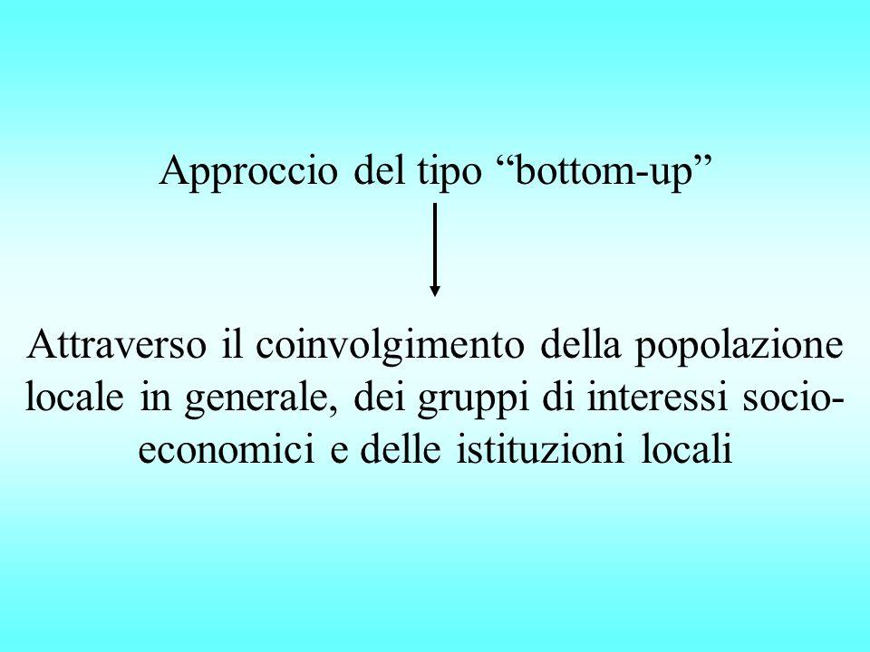 Attraverso il coinvolgimento della popolazione locale in generale, dei gruppi di interessi socio- economici e delle istituzioni locali Approccio del tipo bottom-up