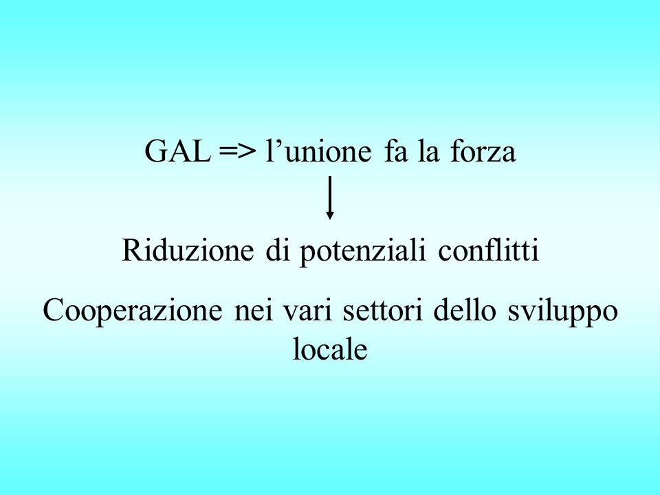 GAL => l'unione fa la forza Riduzione di potenziali conflitti Cooperazione nei vari settori dello sviluppo locale