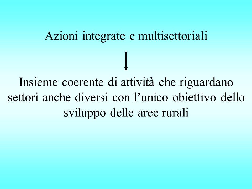Azioni integrate e multisettoriali Insieme coerente di attività che riguardano settori anche diversi con l'unico obiettivo dello sviluppo delle aree rurali