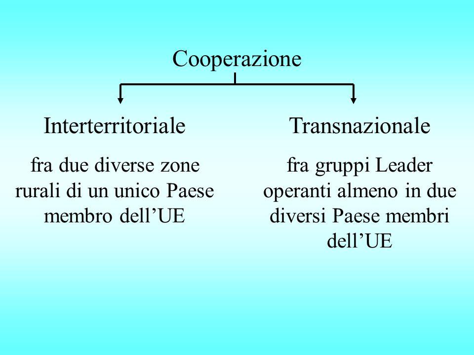 Cooperazione Interterritoriale fra due diverse zone rurali di un unico Paese membro dell'UE Transnazionale fra gruppi Leader operanti almeno in due diversi Paese membri dell'UE