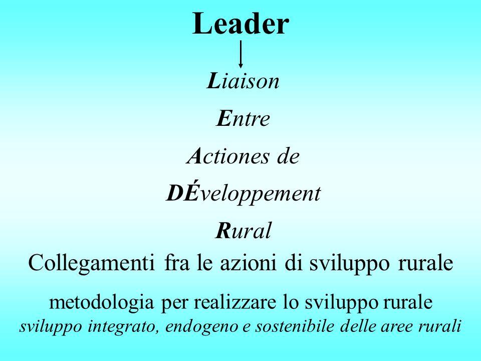 Liaison Entre Actiones de DÉveloppement Rural Leader Collegamenti fra le azioni di sviluppo rurale metodologia per realizzare lo sviluppo rurale sviluppo integrato, endogeno e sostenibile delle aree rurali