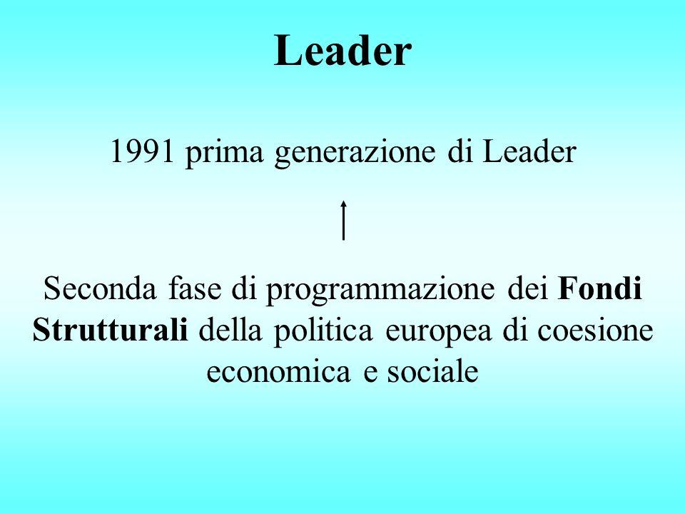 Leader 1991 prima generazione di Leader Seconda fase di programmazione dei Fondi Strutturali della politica europea di coesione economica e sociale