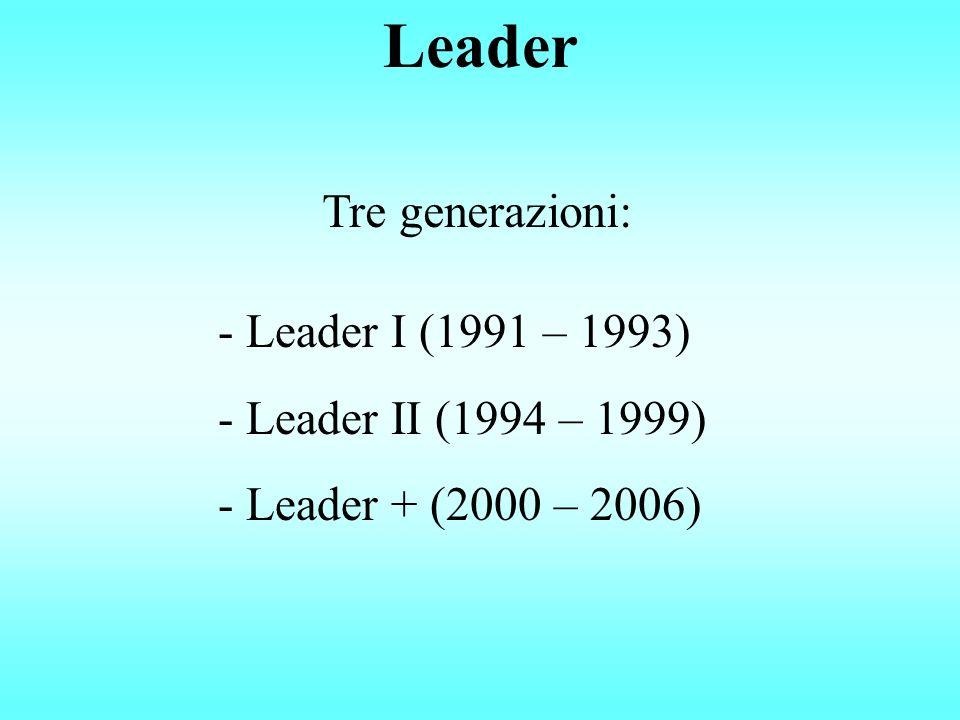 Leader - Leader I (1991 – 1993) - Leader II (1994 – 1999) - Leader + (2000 – 2006) Tre generazioni: