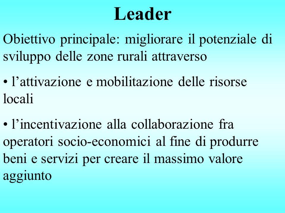 Leader Obiettivo principale: migliorare il potenziale di sviluppo delle zone rurali attraverso l'attivazione e mobilitazione delle risorse locali l'in