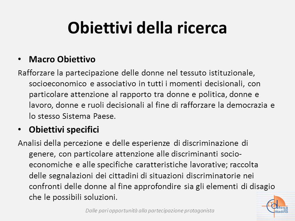 Obiettivi della ricerca Macro Obiettivo R afforzare la partecipazione delle donne nel tessuto istituzionale, socioeconomico e associativo in tutti i momenti decisionali, con particolare attenzione al rapporto tra donne e politica, donne e lavoro, donne e ruoli decisionali al fine di rafforzare la democrazia e lo stesso Sistema Paese.