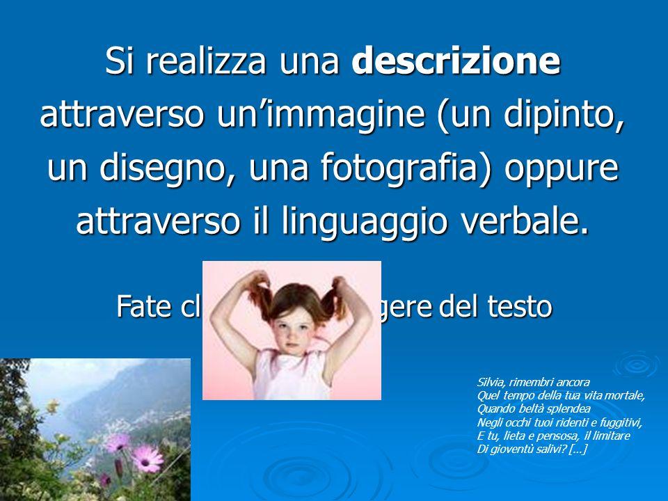 Fate clic per aggiungere del testo Si realizza una descrizione attraverso un'immagine (un dipinto, un disegno, una fotografia) oppure attraverso il li