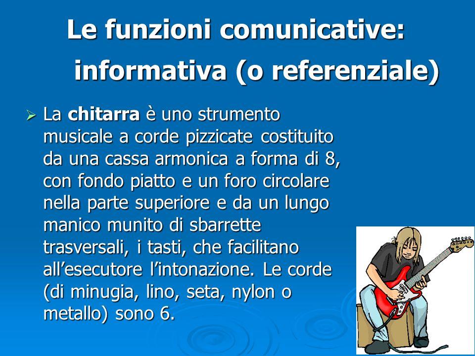 Le funzioni comunicative:  La chitarra è uno strumento musicale a corde pizzicate costituito da una cassa armonica a forma di 8, con fondo piatto e u