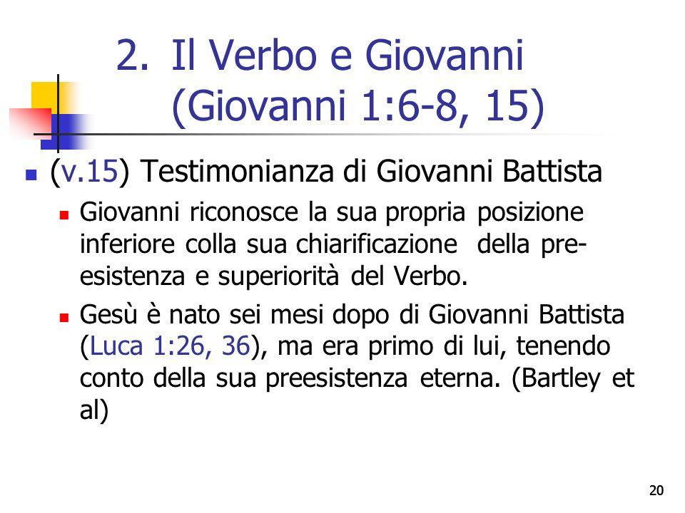 20 (v.15) Testimonianza di Giovanni Battista Giovanni riconosce la sua propria posizione inferiore colla sua chiarificazione della pre- esistenza e superiorità del Verbo.