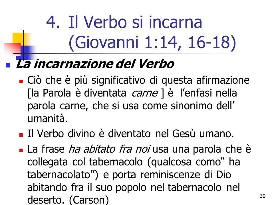 La incarnazione del Verbo Ciò che è più significativo di questa afirmazione [la Parola è diventata carne ] è l'enfasi nella parola carne, che si usa come sinonimo dell' umanità.