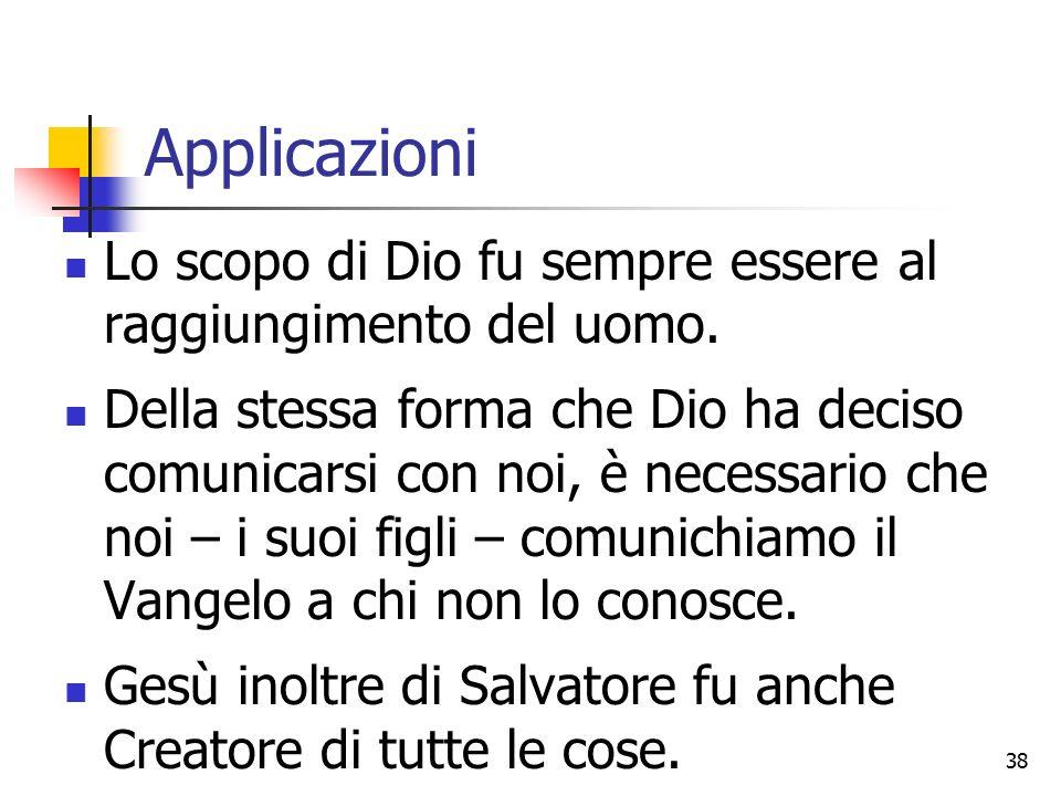 Applicazioni Lo scopo di Dio fu sempre essere al raggiungimento del uomo.
