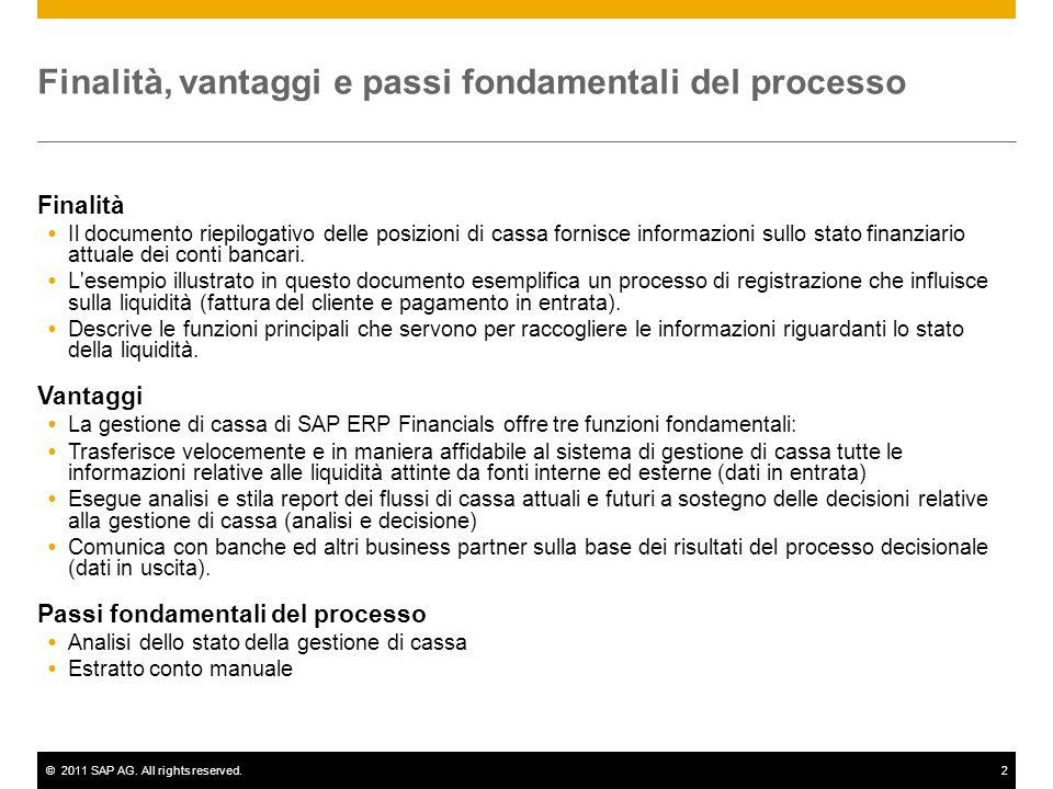 ©2011 SAP AG. All rights reserved.2 Finalità, vantaggi e passi fondamentali del processo Finalità  Il documento riepilogativo delle posizioni di cass