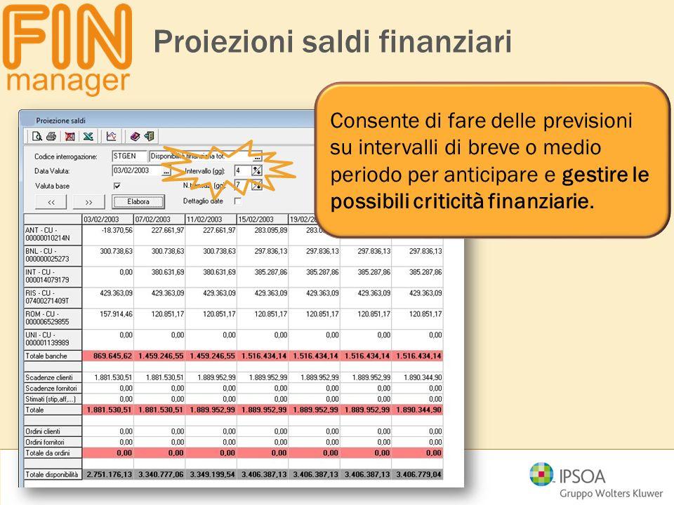 Proiezioni saldi finanziari Consente di fare delle previsioni su intervalli di breve o medio periodo per anticipare e gestire le possibili criticità f