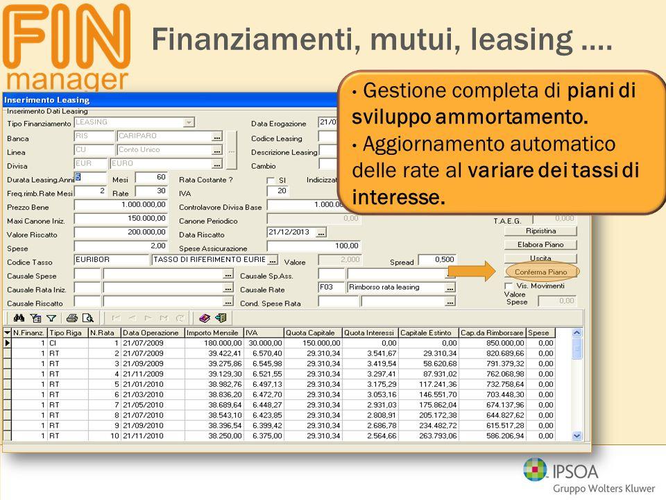 Finanziamenti, mutui, leasing …. Gestione completa di piani di sviluppo ammortamento. Aggiornamento automatico delle rate al variare dei tassi di inte