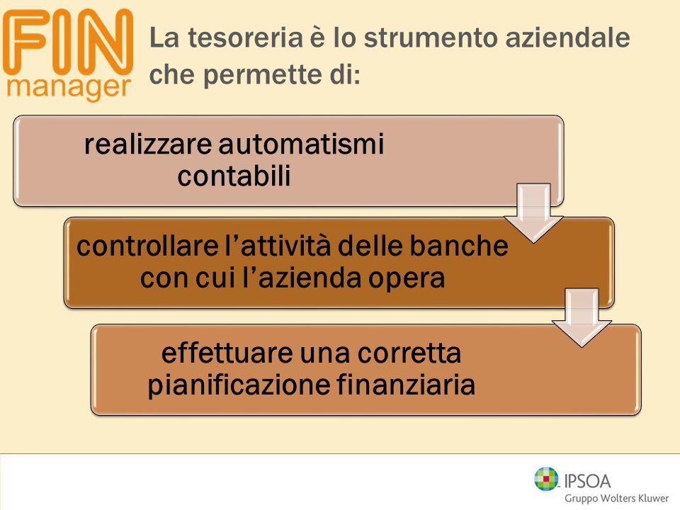 controllare l'attività delle banche con cui l'azienda opera effettuare una corretta pianificazione finanziaria realizzare automatismi contabili La tes