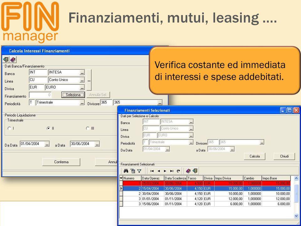 Finanziamenti, mutui, leasing …. Verifica costante ed immediata di interessi e spese addebitati.