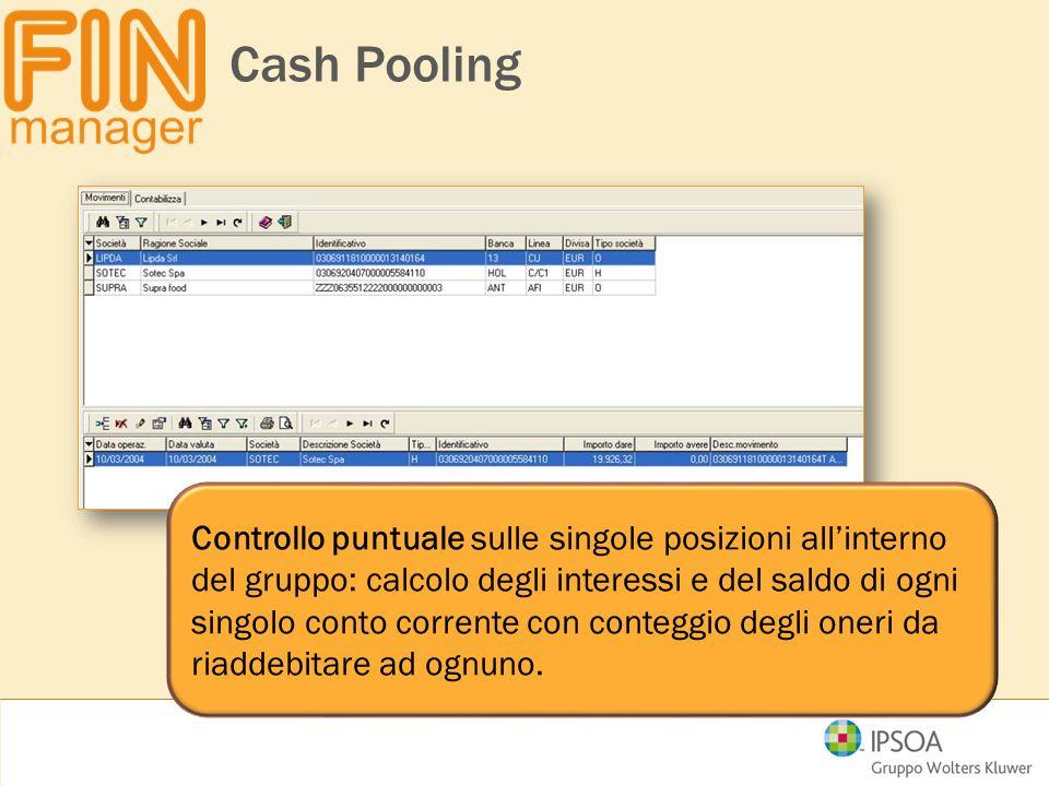 Cash Pooling Controllo puntuale sulle singole posizioni all'interno del gruppo: calcolo degli interessi e del saldo di ogni singolo conto corrente con