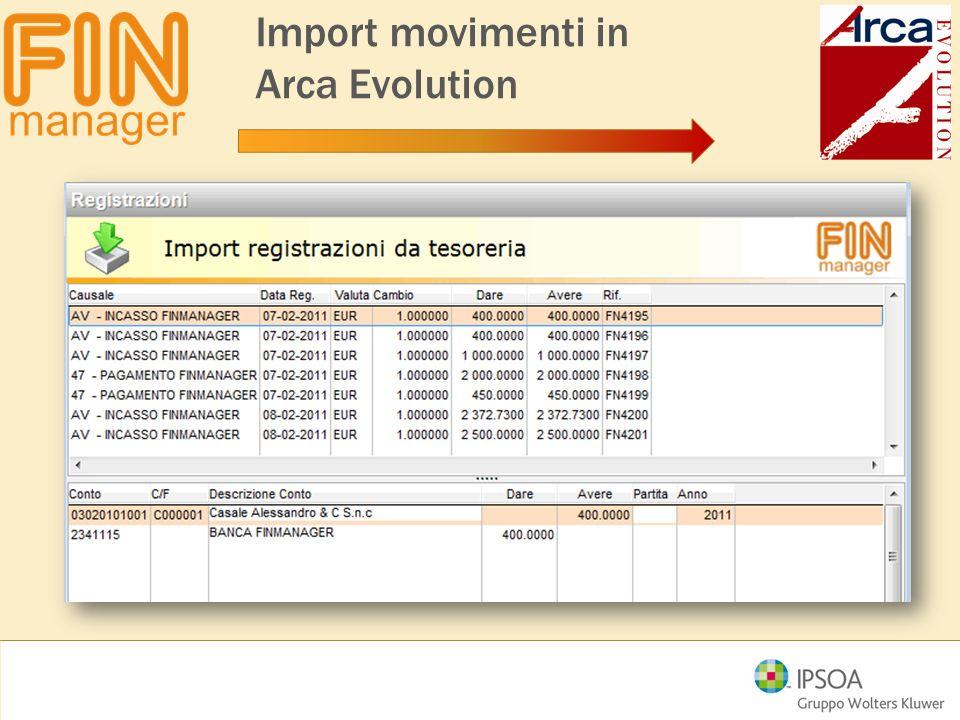 Import movimenti in Arca Evolution