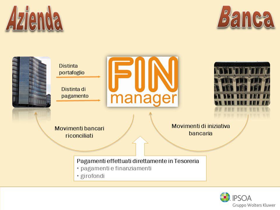 Distinta portafoglio Distinta di pagamento Movimenti bancari riconciliati Pagamenti effettuati direttamente in Tesoreria pagamenti e finanziamenti gir