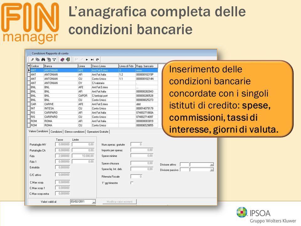 L'anagrafica completa delle condizioni bancarie Inserimento delle condizioni bancarie concordate con i singoli istituti di credito: spese, commissioni