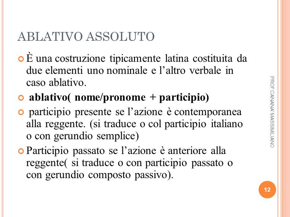 ABLATIVO ASSOLUTO È una costruzione tipicamente latina costituita da due elementi uno nominale e l'altro verbale in caso ablativo. ablativo( nome/pron