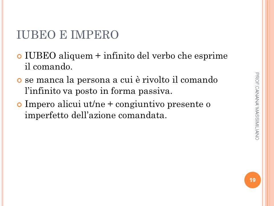 IUBEO E IMPERO IUBEO aliquem + infinito del verbo che esprime il comando. se manca la persona a cui è rivolto il comando l'infinito va posto in forma
