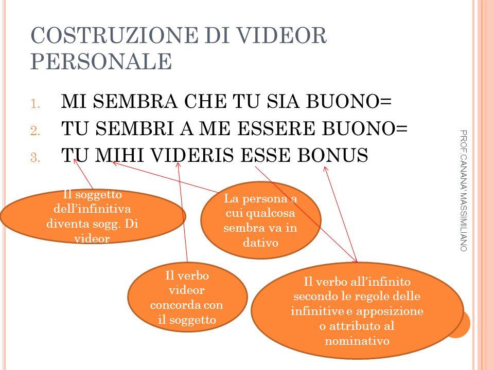COSTRUZIONE DI VIDEOR IMPERSONALE 1.CON AGGETTIVI NEUTRI.