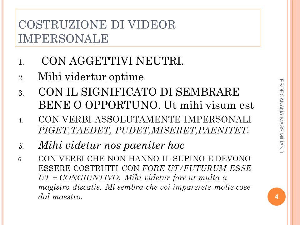 C OSTRUZIONE PERSONALE DEI VERBA NARRANDI I verba narrandi in italiano hanno costruzione impersonale al passivo: si narra, si dice ecc.