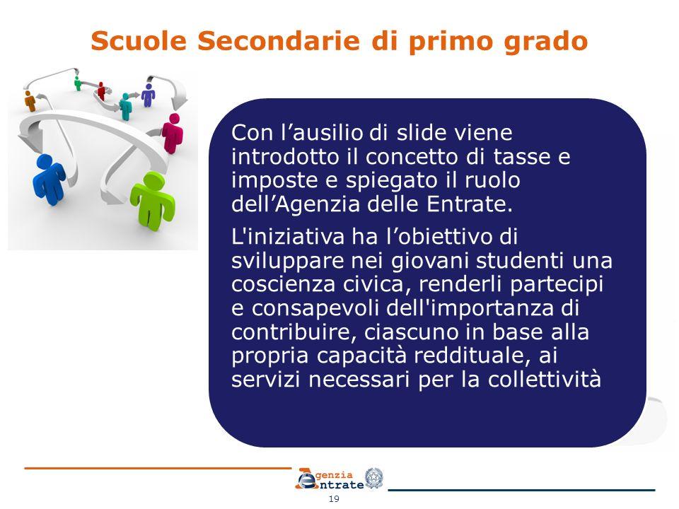 Scuole Secondarie di primo grado 19 Con l'ausilio di slide viene introdotto il concetto di tasse e imposte e spiegato il ruolo dell'Agenzia delle Entr