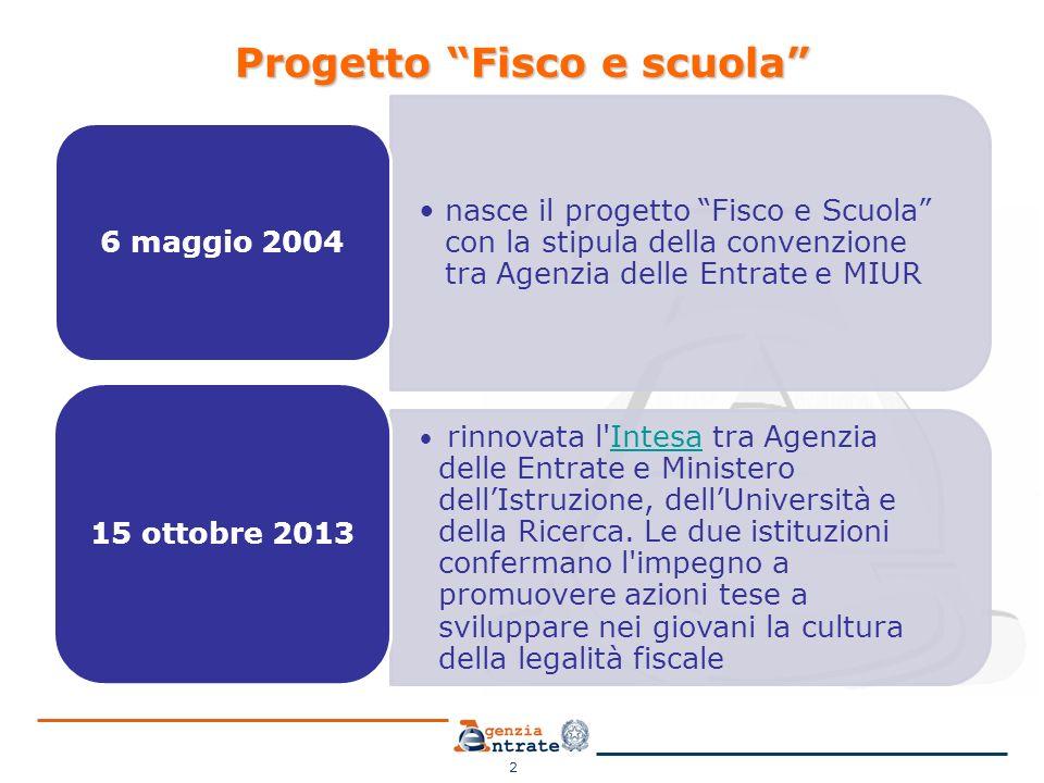 """2 Progetto """"Fisco e scuola"""" nasce il progetto """"Fisco e Scuola"""" con la stipula della convenzione tra Agenzia delle Entrate e MIUR 6 maggio 2004 rinnova"""