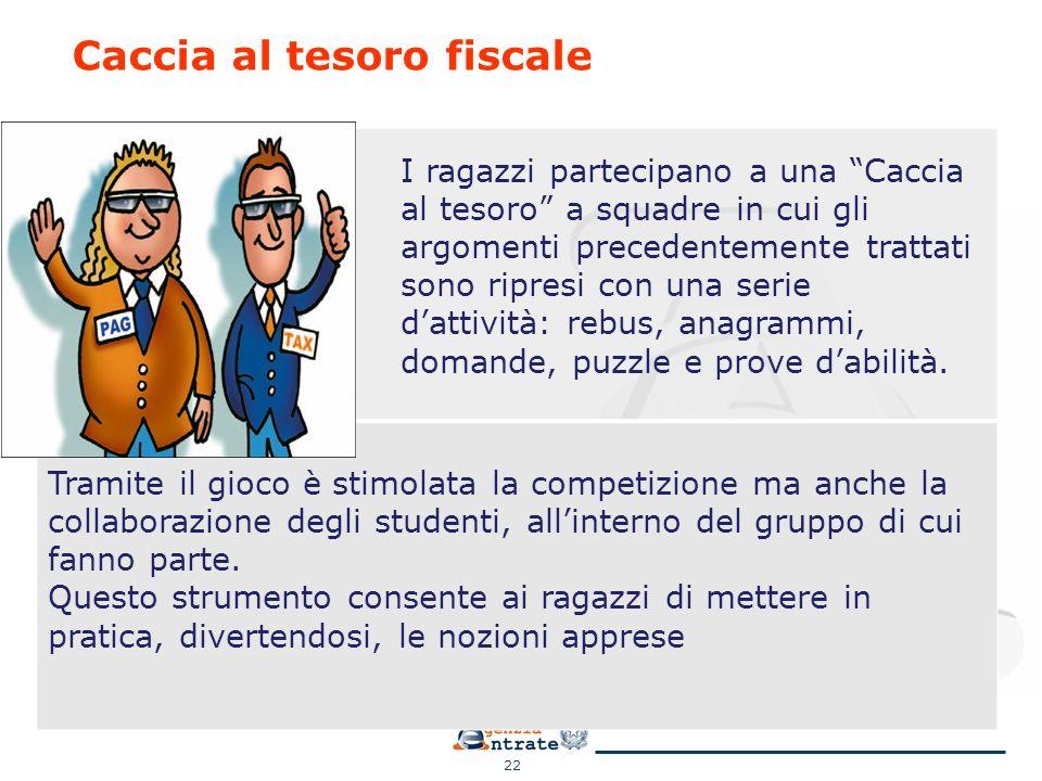 22 Caccia al tesoro fiscale Tramite il gioco è stimolata la competizione ma anche la collaborazione degli studenti, all'interno del gruppo di cui fann