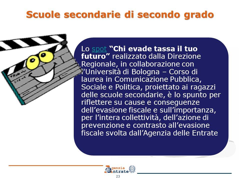 """Scuole secondarie di secondo grado 23 Lo spot """"Chi evade tassa il tuo futuro"""" realizzato dalla Direzione Regionale, in collaborazione con l'Università"""