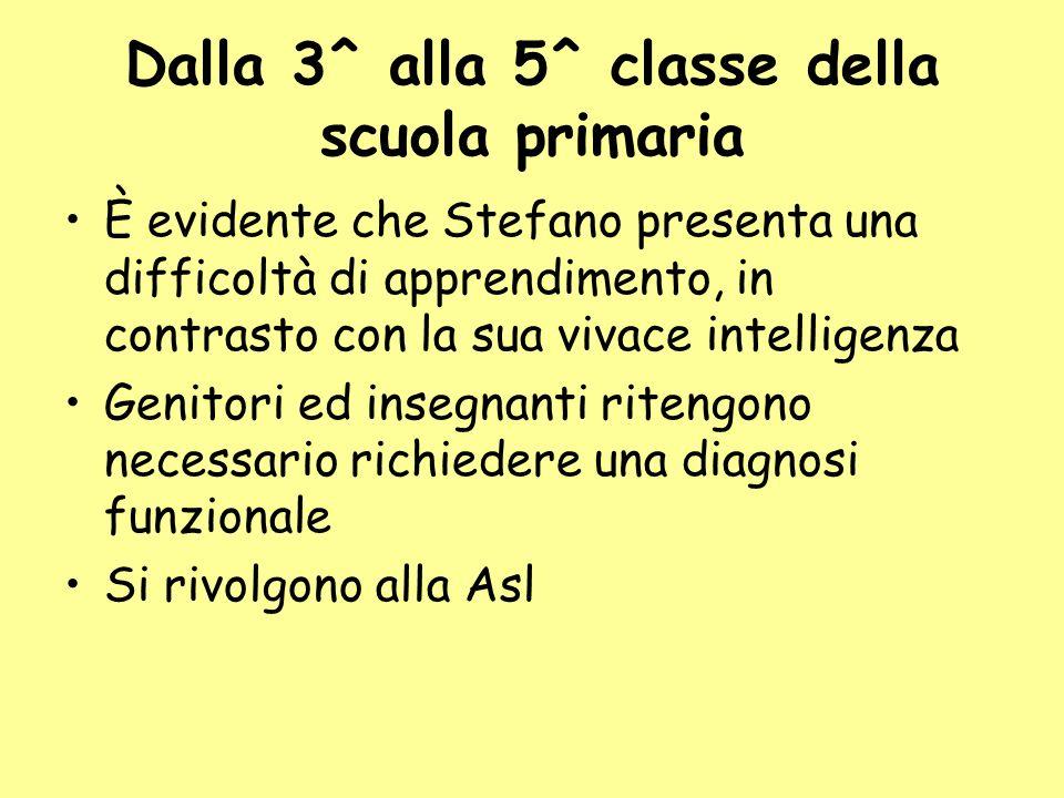 Dalla 3^ alla 5^ classe della scuola primaria È evidente che Stefano presenta una difficoltà di apprendimento, in contrasto con la sua vivace intellig