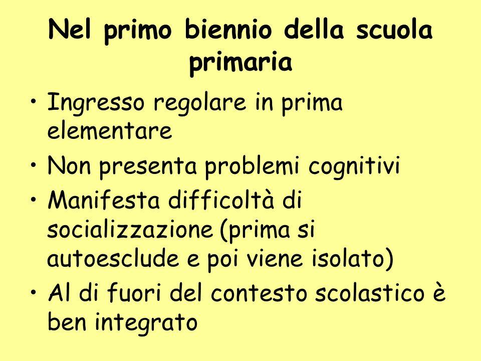 Nel primo biennio della scuola primaria Ingresso regolare in prima elementare Non presenta problemi cognitivi Manifesta difficoltà di socializzazione