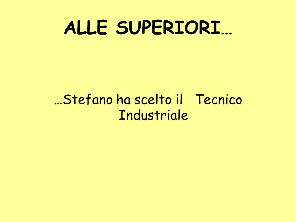 ALLE SUPERIORI… …Stefano ha scelto il Tecnico Industriale