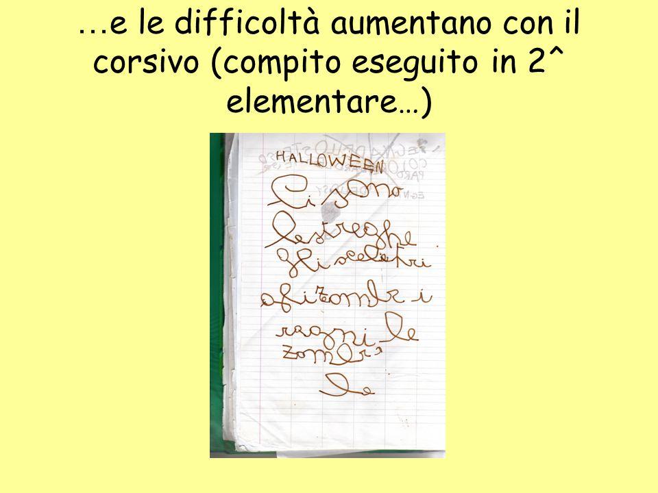 … e le difficoltà aumentano con il corsivo (compito eseguito in 2^ elementare…)